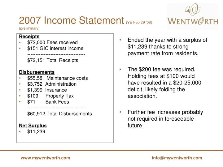 2007 Income Statement