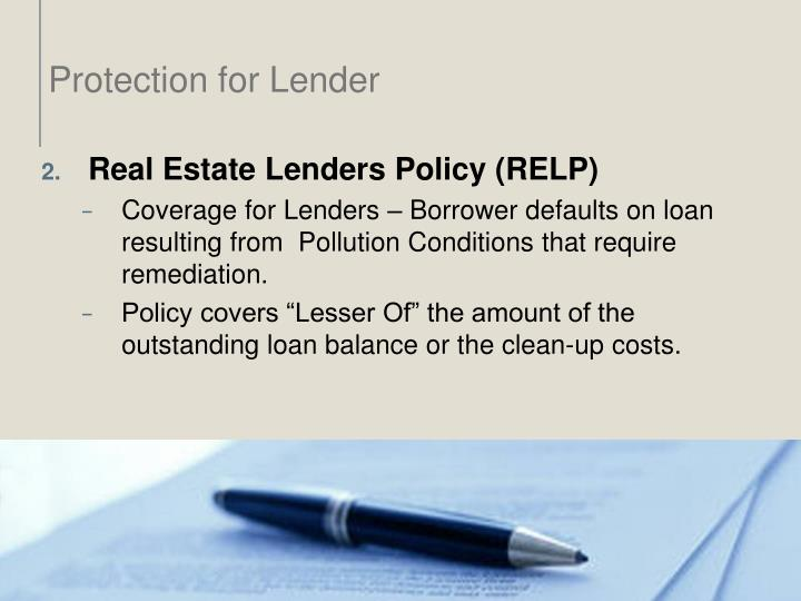 Protection for Lender