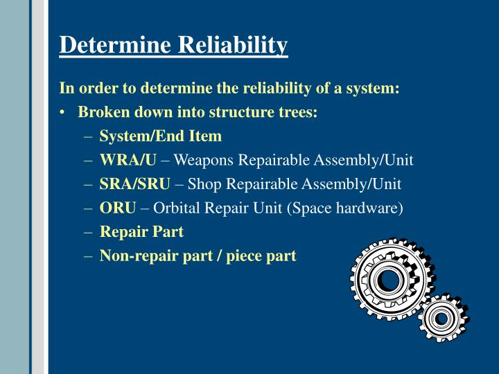 Determine Reliability
