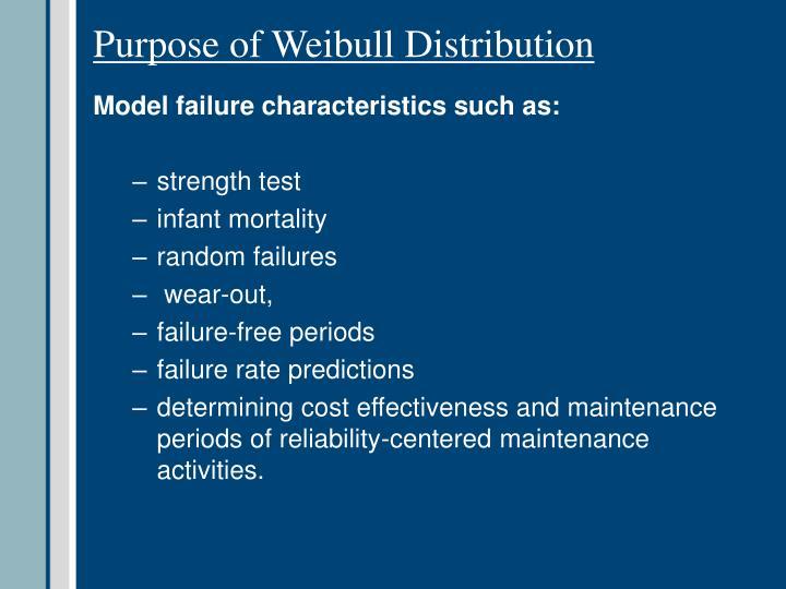 Purpose of Weibull Distribution