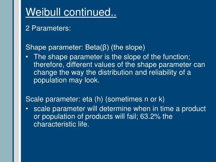 Weibull continued..