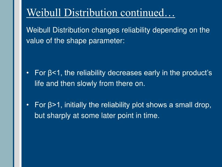 Weibull Distribution continued…