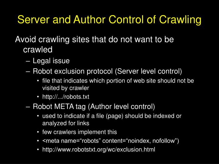 Server and Author Control of Crawling