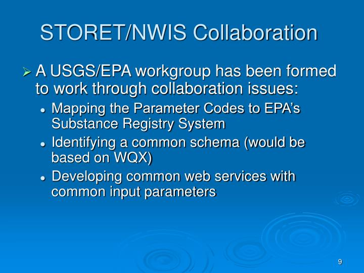 STORET/NWIS Collaboration