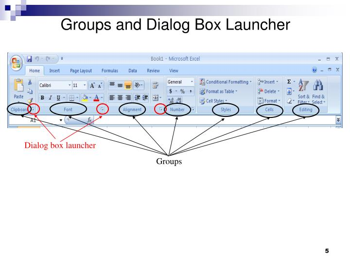 Groups and Dialog Box Launcher