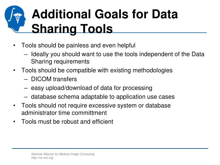 Additional Goals for Data Sharing Tools