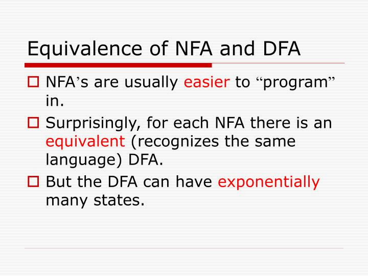 Equivalence of NFA and DFA