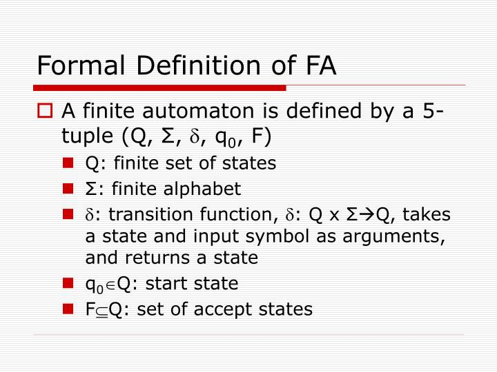 Formal Definition of FA