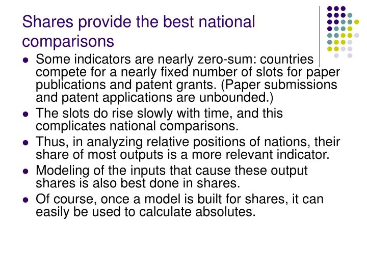 Shares provide the best national comparisons
