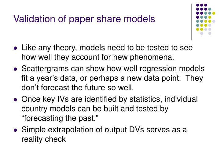 Validation of paper share models