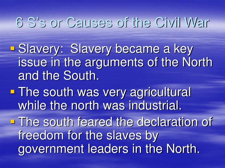 6 S's or Causes of the Civil War