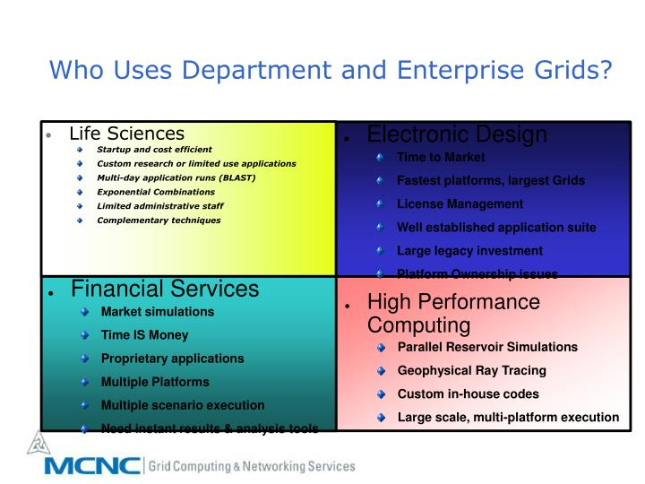 Who Uses Department and Enterprise Grids?
