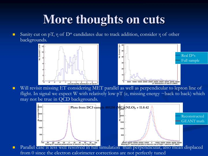 More thoughts on cuts