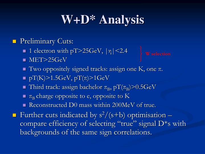 W+D* Analysis