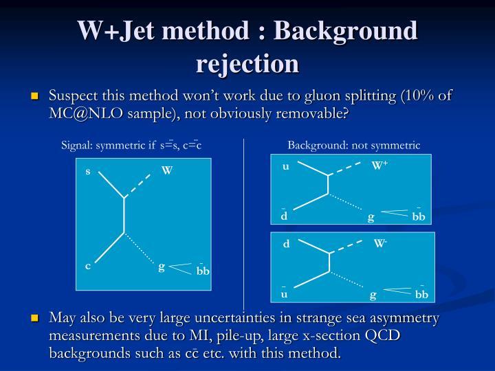W+Jet method : Background rejection