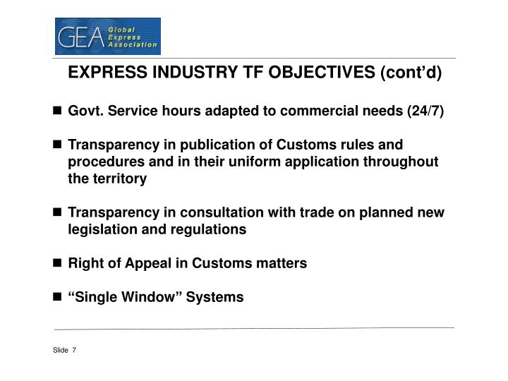 EXPRESS INDUSTRY TF OBJECTIVES (cont'd)
