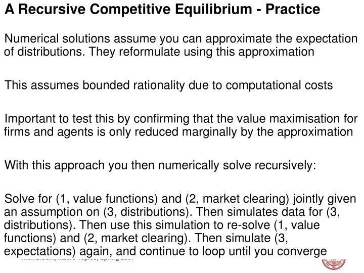 A Recursive Competitive Equilibrium - Practice