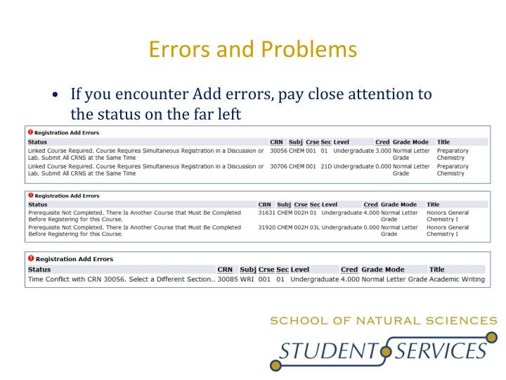 Errors and Problems