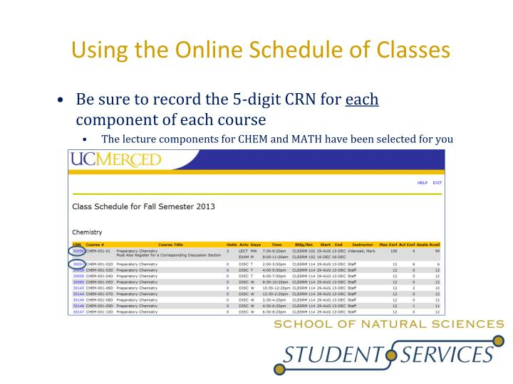 Using the Online Schedule of Classes