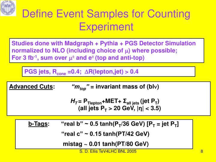 Define Event Samples for Counting Experiment