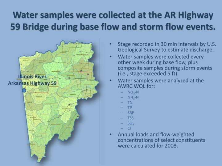 Water samples were collected at the AR Highway 59 Bridge during base flow and storm flow events.