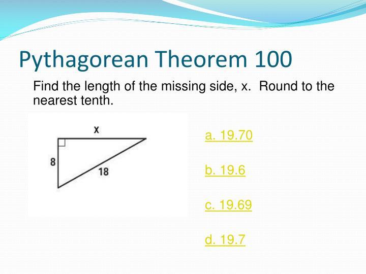 Pythagorean Theorem 100