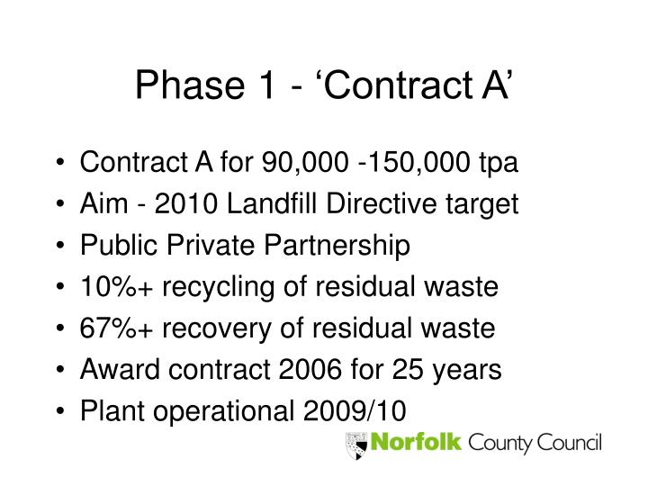 Phase 1 - 'Contract A'