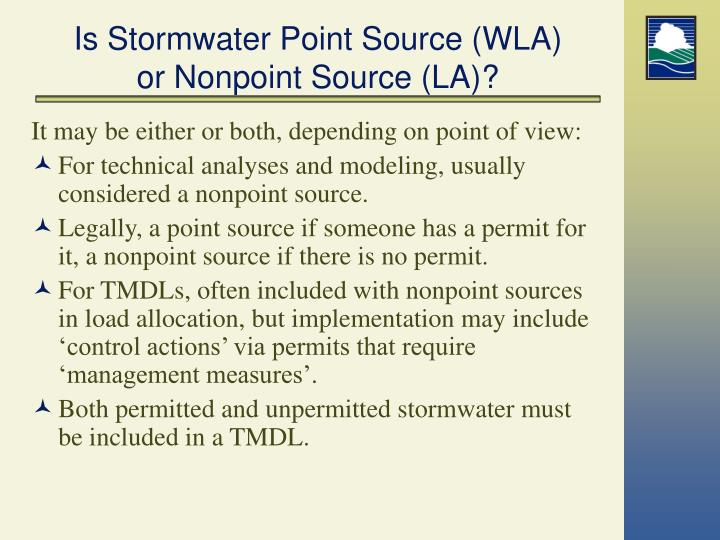 Is Stormwater Point Source (WLA)