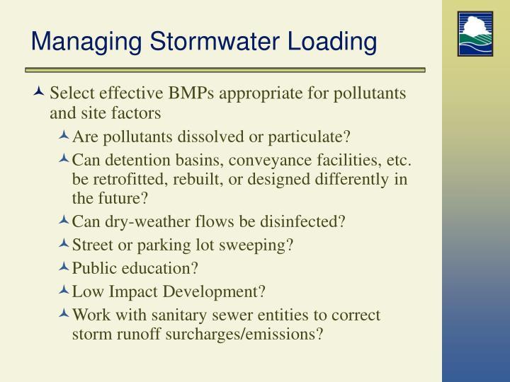 Managing Stormwater Loading