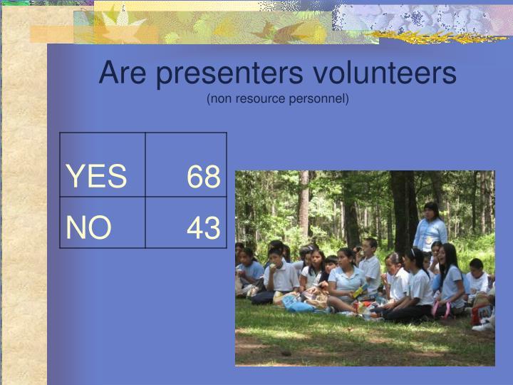 Are presenters volunteers