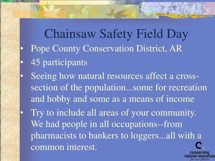 Chainsaw Safety Field Day