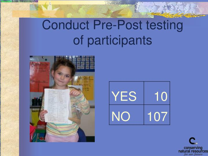 Conduct Pre-Post testing