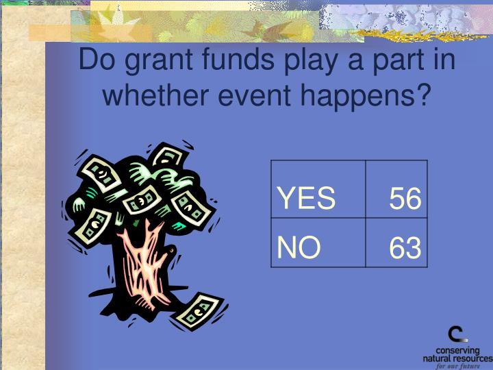Do grant funds play a part in whether event happens?