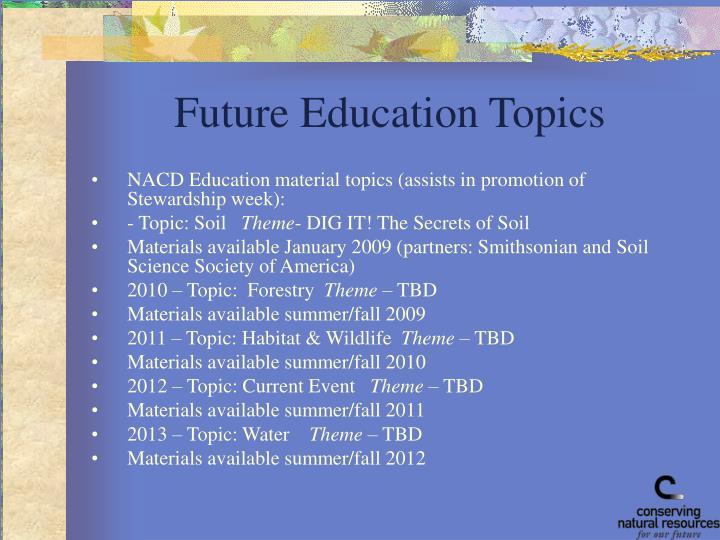 Future Education Topics