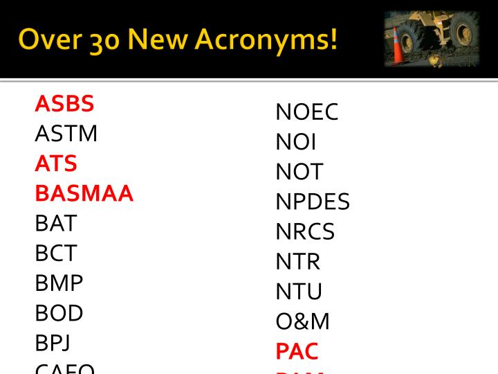 Over 30 New Acronyms!