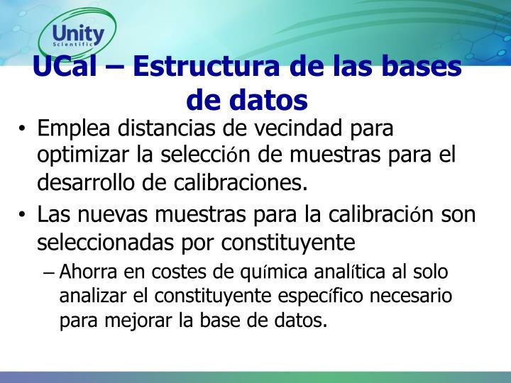 UCal – Estructura de las bases de datos