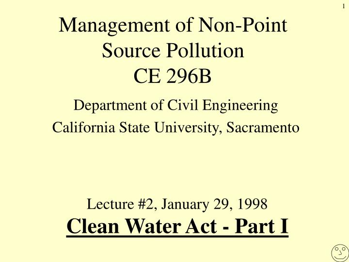 Management of Non-Point Source Pollution