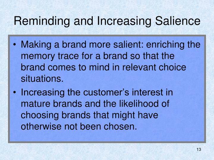 Reminding and Increasing Salience