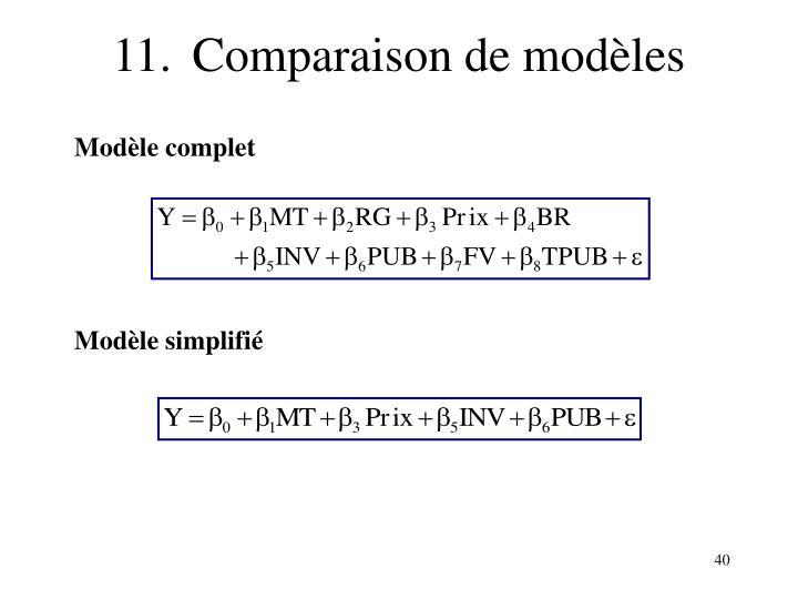 11.Comparaison de modèles