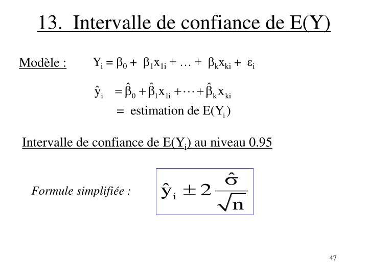 13.  Intervalle de confiance de E(Y)