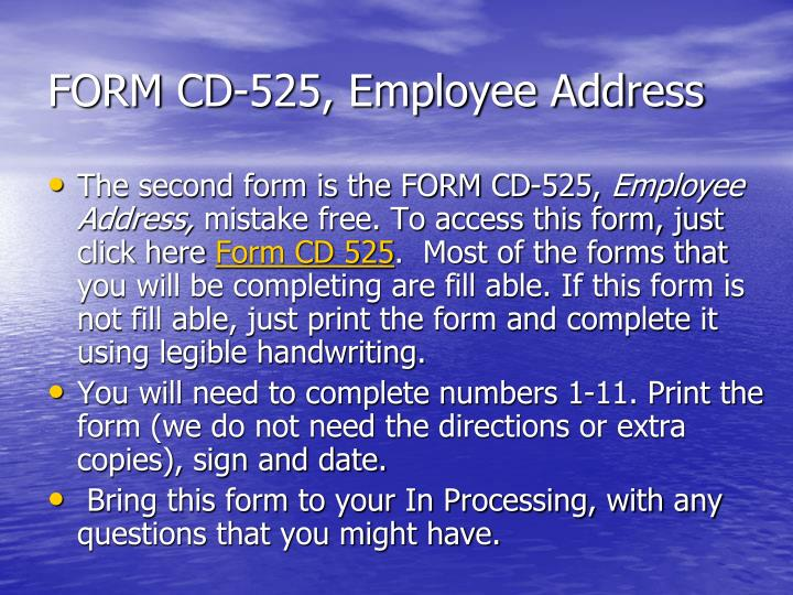 FORM CD-525, Employee Address