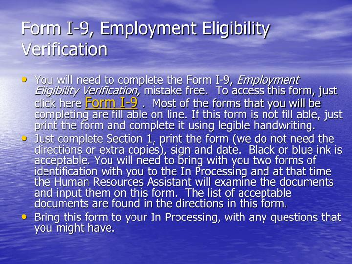 Form I-9, Employment Eligibility Verification