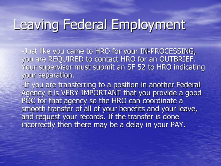 Leaving Federal Employment