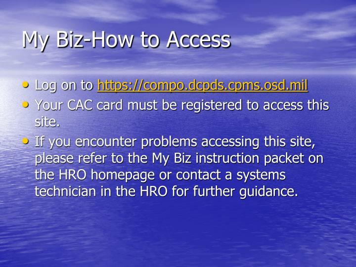 My Biz-How to Access