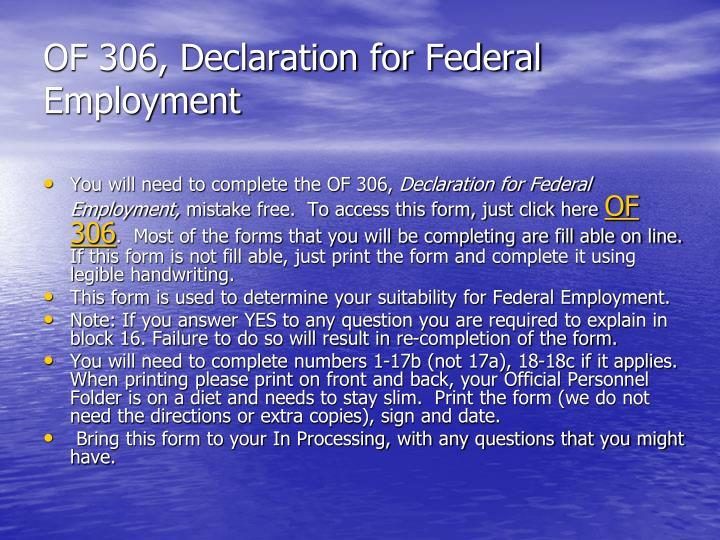 OF 306, Declaration for Federal Employment