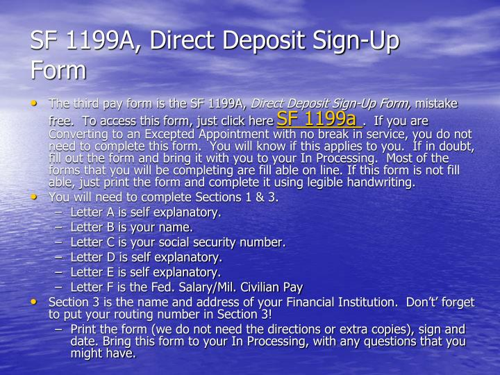 SF 1199A, Direct Deposit Sign-Up