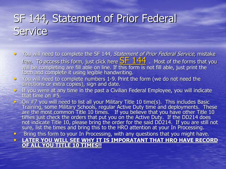 SF 144, Statement of Prior Federal Service