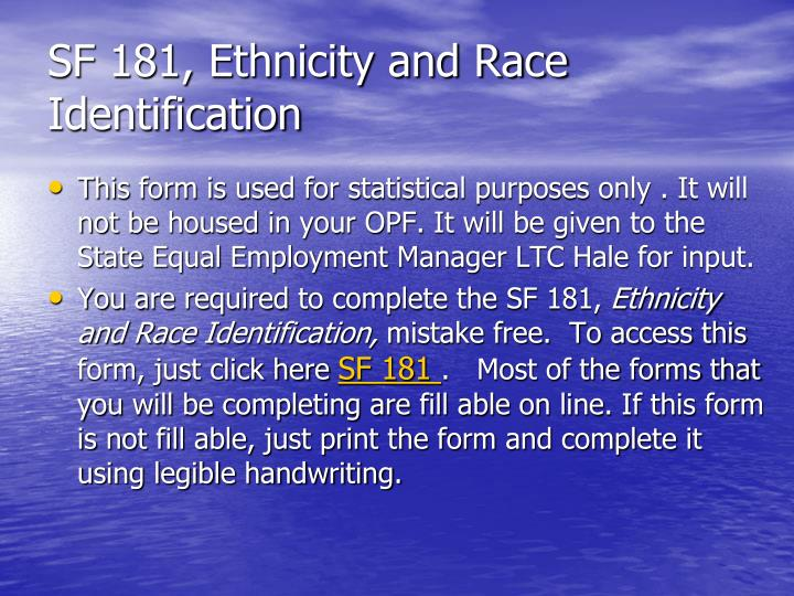 SF 181, Ethnicity and Race Identification