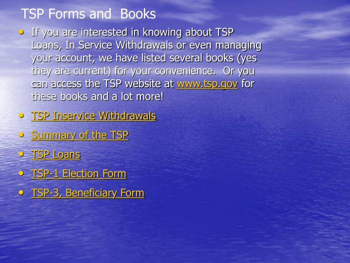 TSP Forms and  Books