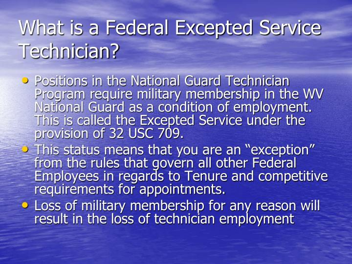 What is a federal excepted service technician